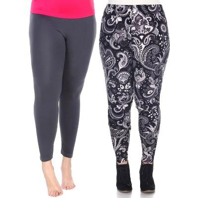 Women's Pack of 2 Plus Size Leggings - White Mark