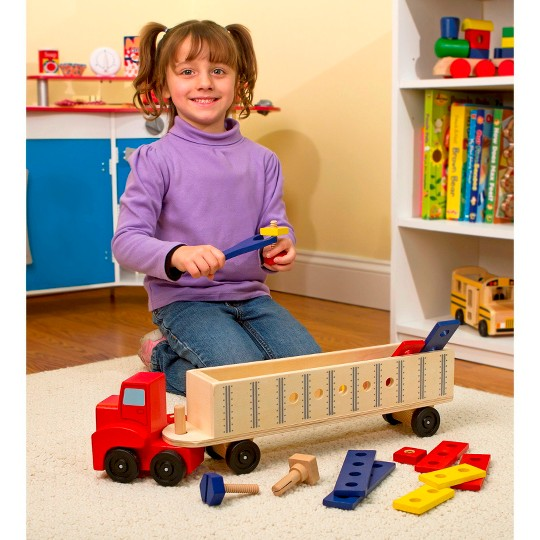 Melissa & Doug Big Rig Truck Wooden Building Set (22pc) image number null