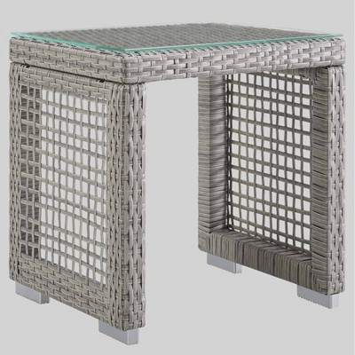 Aura Outdoor Wicker Side Patio Side Table Gray - Modway