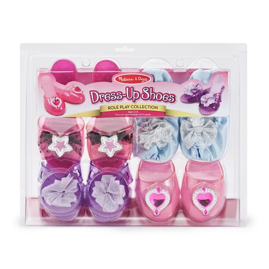 Melissa & Doug Role Play Collection - Step In Style! Dress-Up Shoes Set (4 Pairs), Size: One Size image number null