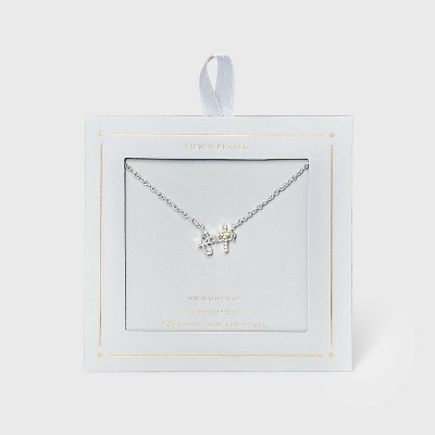 Two-Tone Cubic Zirconia 'Faith' Cross Necklace - Silver