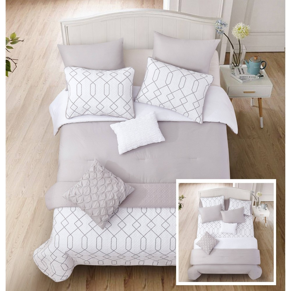 Riverbrook Home Full/Queen Alexander 8pc Layered Comforter & Coverlet Set Gray/White, Gray White