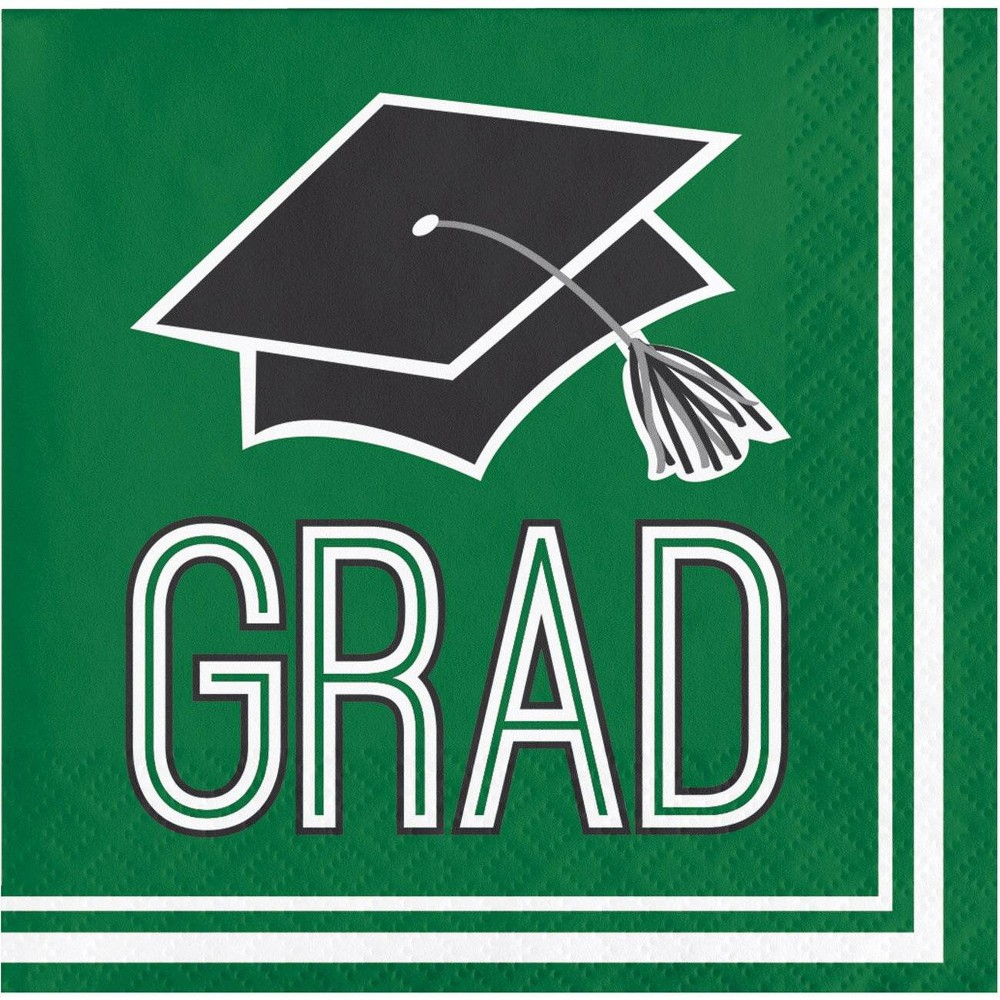 Image of 108ct Graduation School Spirit Beverage Napkins Green