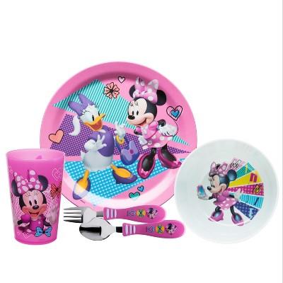 Zak Designs Kids 5-Piece Dinnerware Set Durable Plastic Plate Bowl Tumbler Stainless Steel Fork Spoon Flatware BPA-Free