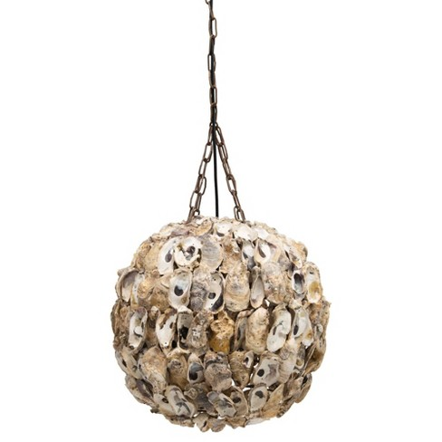 Round Oyster Shell Pendant Ceiling Light With Chain And Cord Tan 3r Studios Target