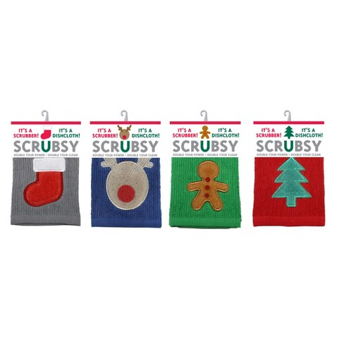 Set of 4 Holiday Scrubsy Dish Cloth - MU Kitchen - image 1 of 5