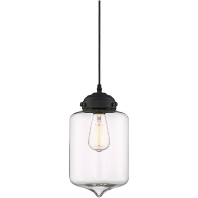 "Possini Euro Design Black Mini Pendant Light 7"" Wide Modern Clear Glass Jar Shade for Kitchen Island Dining Room"