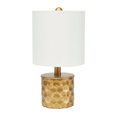 "15"" The Hive Mini Gilded Silverwood Table Lamp with Shade (Includes CFL Light Bulb) Brushed Gold - Decor Therapy"