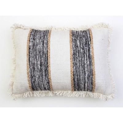 """14""""X20"""" Bodhi Jute Rope Fringe Trim Pillow Jet Black - Decor Therapy"""