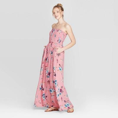 21e976d22b3 Women's Floral Print Strapless Smocked Top Maxi Dress - Xhilaration™ Blush