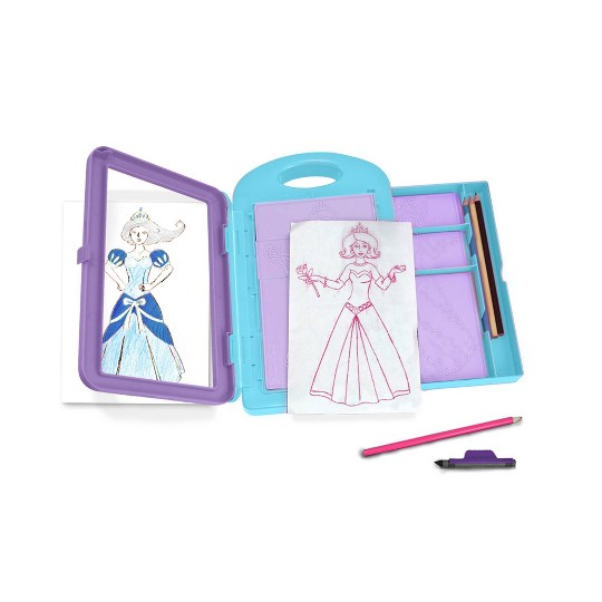 Melissa & Doug Princess Design Activity Kit - 9 Double-Sided Plates, 4 Colored Pencils, Rubbing Crayon image number null