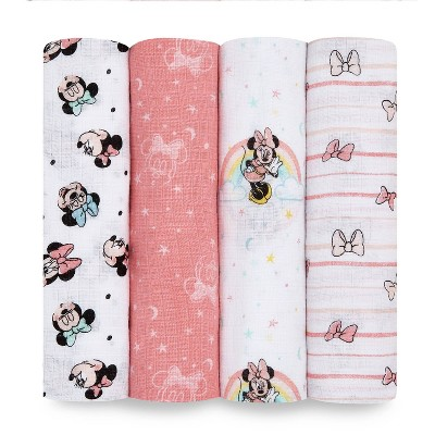 Aden + Anais Essentials Muslin Swaddles Minnie Rainbows - White 4pk