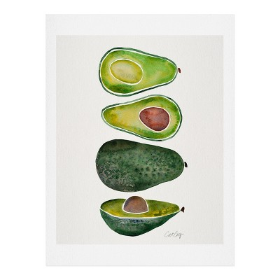 11  x 14  Cat Coquillette Avocado Slices Wall Art Print Green - society6