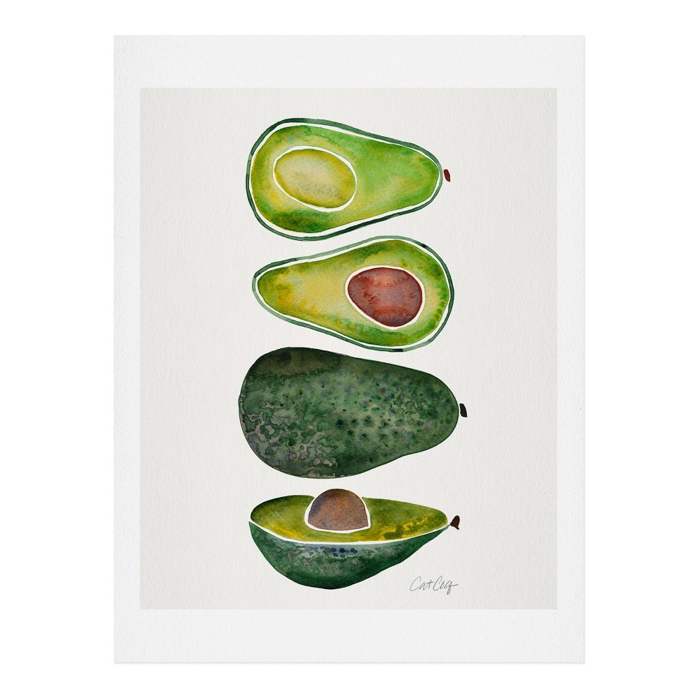 "Image of ""11"""" x 14"""" Cat Coquillette Avocado Slices Wall Art Print Green - society6"""