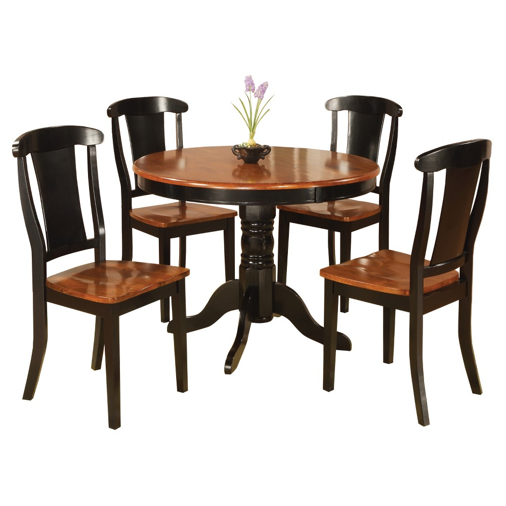 5pc Table With 4 Side Chairs - Black/Cherry - Home Source