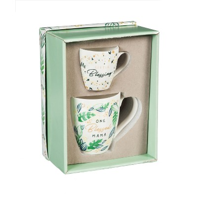Cypress Home Mommy and Me Ceramic Cup Gift Set, One Blessed Mama/ Little Blessing