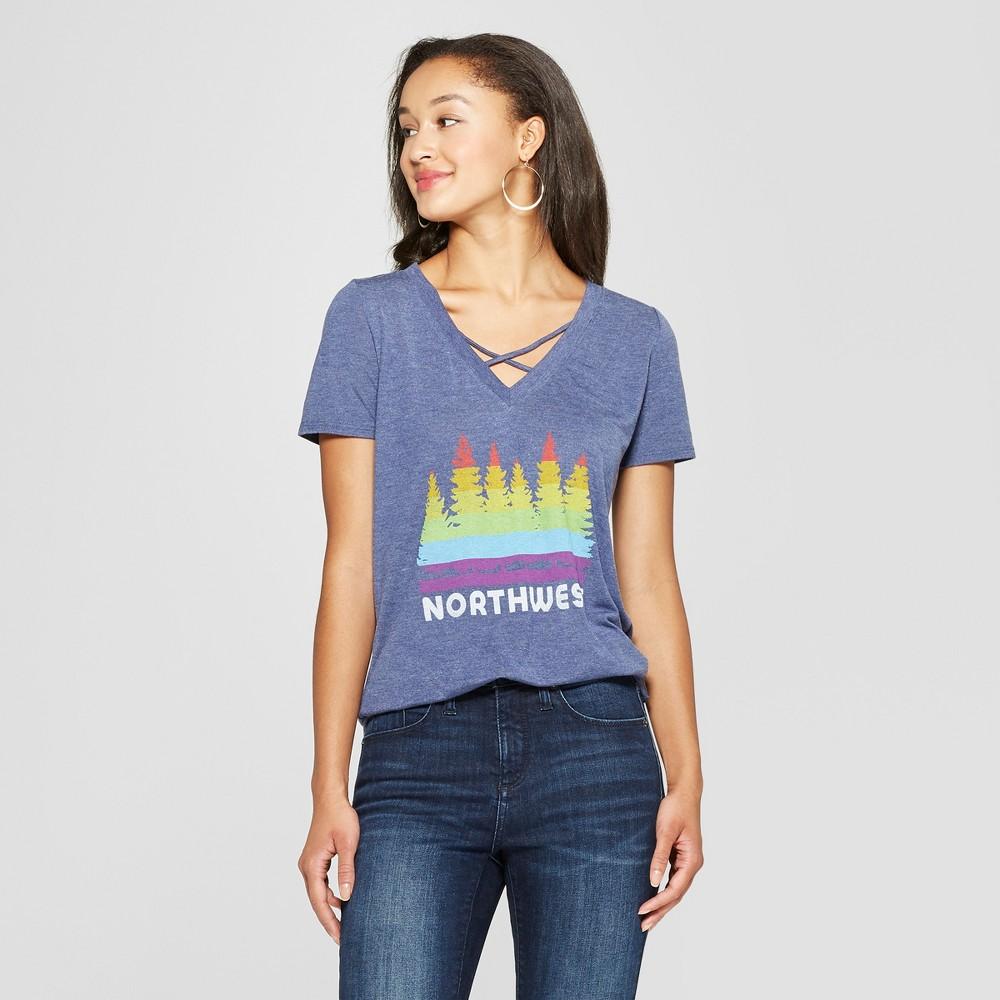 Women's Short Sleeve Northwest Rainbow Graphic T-Shirt - Awake Navy L, Blue