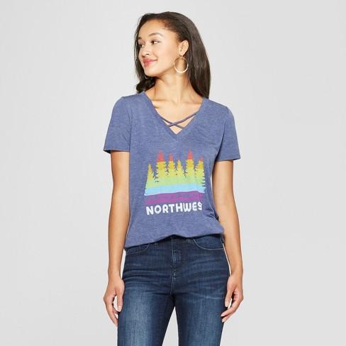 Women's Short Sleeve Northwest Rainbow Graphic T-Shirt - Awake Navy - image 1 of 2