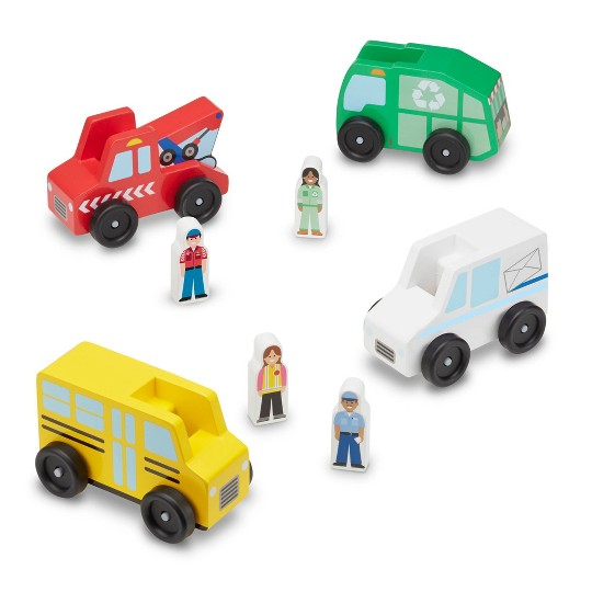 Melissa & Doug Community Vehicles Play Set - Classic Wooden Toy With 4 Vehicles and 4 Play Figures image number null