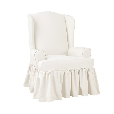 Essential Twill Ruffle Wing Chair Slipcover White - Sure Fit