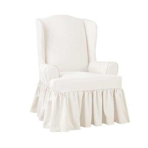 Essential Twill Ruffle Wing Chair Slipcover White Sure Fit