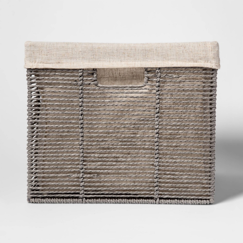 "Image of ""Twisted Paper Rope Large Milk Crate Gray 11""""x13"""" - Threshold"""