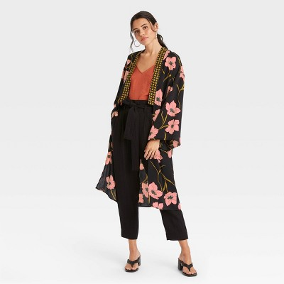 Women's Woven Floral Print Duster - A New Day™ Black