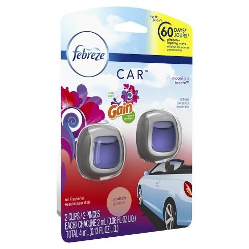 Febreze Car Vent Clip with Gain Moonlight Breeze Scent Air Freshener - 2ct 0.13oz - image 1 of 6
