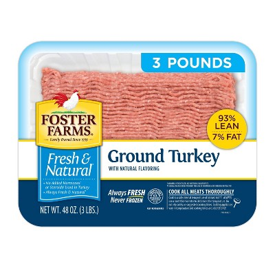 Foster Farms Fresh & Natural 93/7 Ground Turkey - 3lbs