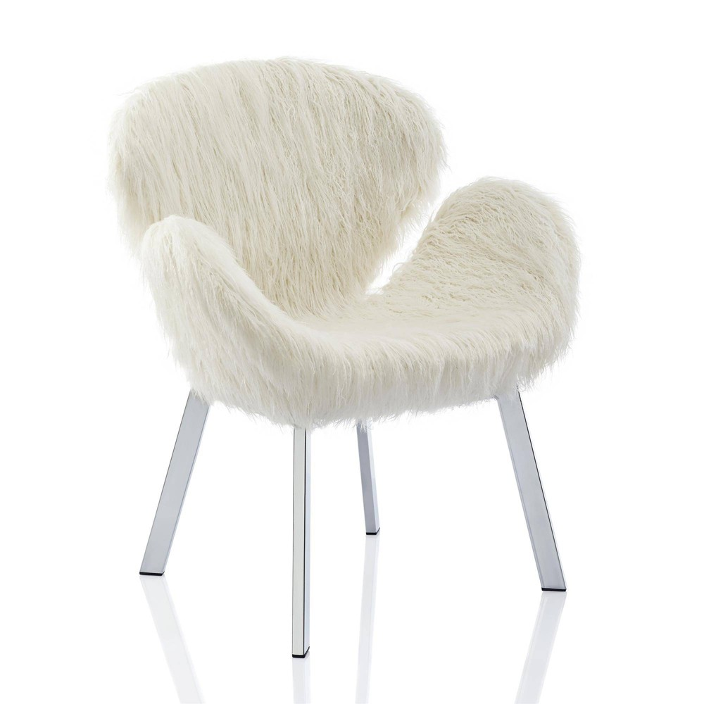 Estelle Accent Chair with Faux Fur and Chrome Legs White - CosmoLiving by Cosmopolitan