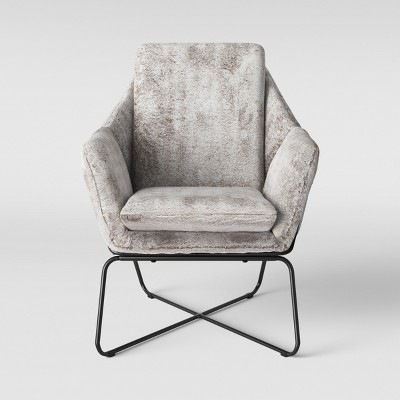 Massey Faux Fur Metal Base Accent Chair Light Gray - Project 62™
