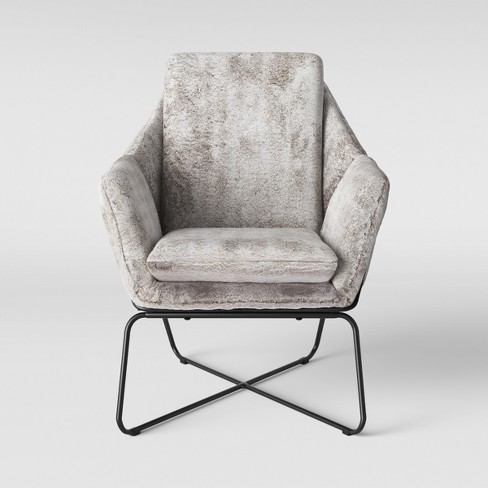 Sensational Massey Faux Fur Metal Base Accent Chair Light Gray Project 62 Interior Design Ideas Clesiryabchikinfo