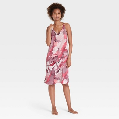 Women's Abstract Print Satin Chemise - Stars Above™ Pink