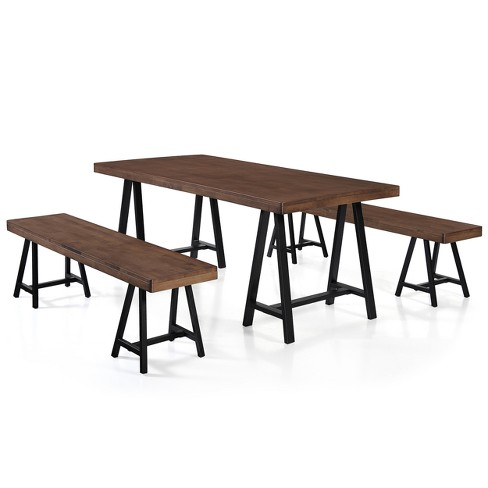 3pc Marchello Farmhouse Picnic Dining Set Natural Walnut - Christopher Knight Home - image 1 of 4