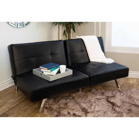 Mackenzie Bonded Leather Convertible Sofa Black - Abbyson Living