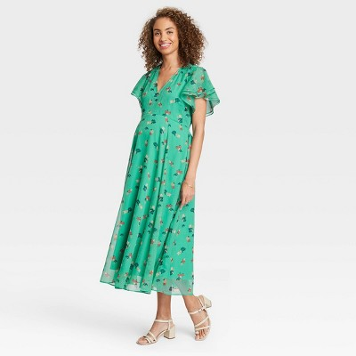 The Nines by HATCH™ Floral Print Flutter Short Sleeve Chiffon Maternity Dress Green