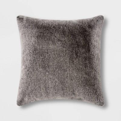 Faux Rabbit Fur Square Throw Pillow Black - Threshold™