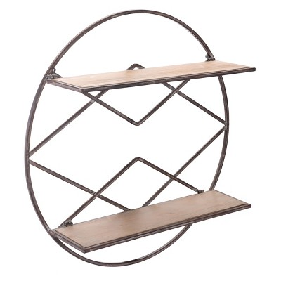 ZM Home 28  Industrial Round Sculptured Shelf Brown