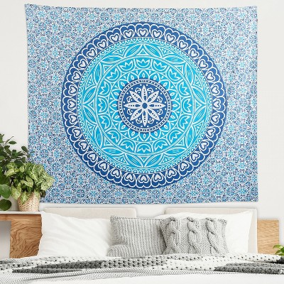 Americanflat 100% Cotton Mandala Wall Hanging Tapestry - Designed with Traditional Meditation Symbols Wall Tapestry