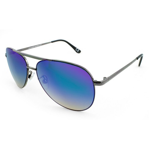 b0777d89fd2d Men's Aviator Sunglasses With Green Mirrored Lenses - Gunmetal : Target