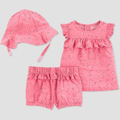 Baby Girls' Floral Top & Bottom Set with Hat - Just One You® made by carter's Pink
