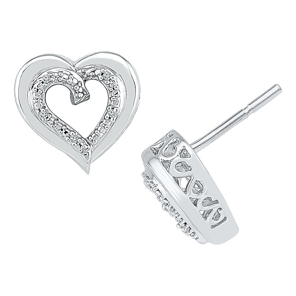 Image of 0.03 CT. T.W. Round White Diamond Prong Set Heart Earring in Sterling Silver (IJ-I2-I3), Women's