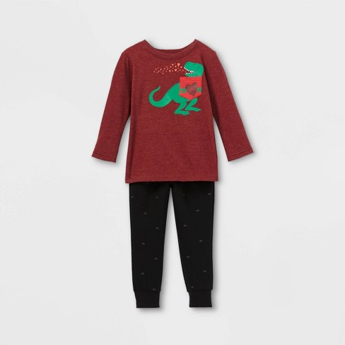 Toddler Boys' Valentine's Day Dino Knit Fleece Long Sleeve Top & Bottom Set - Cat & Jack™ Maroon/Black - image 1 of 2