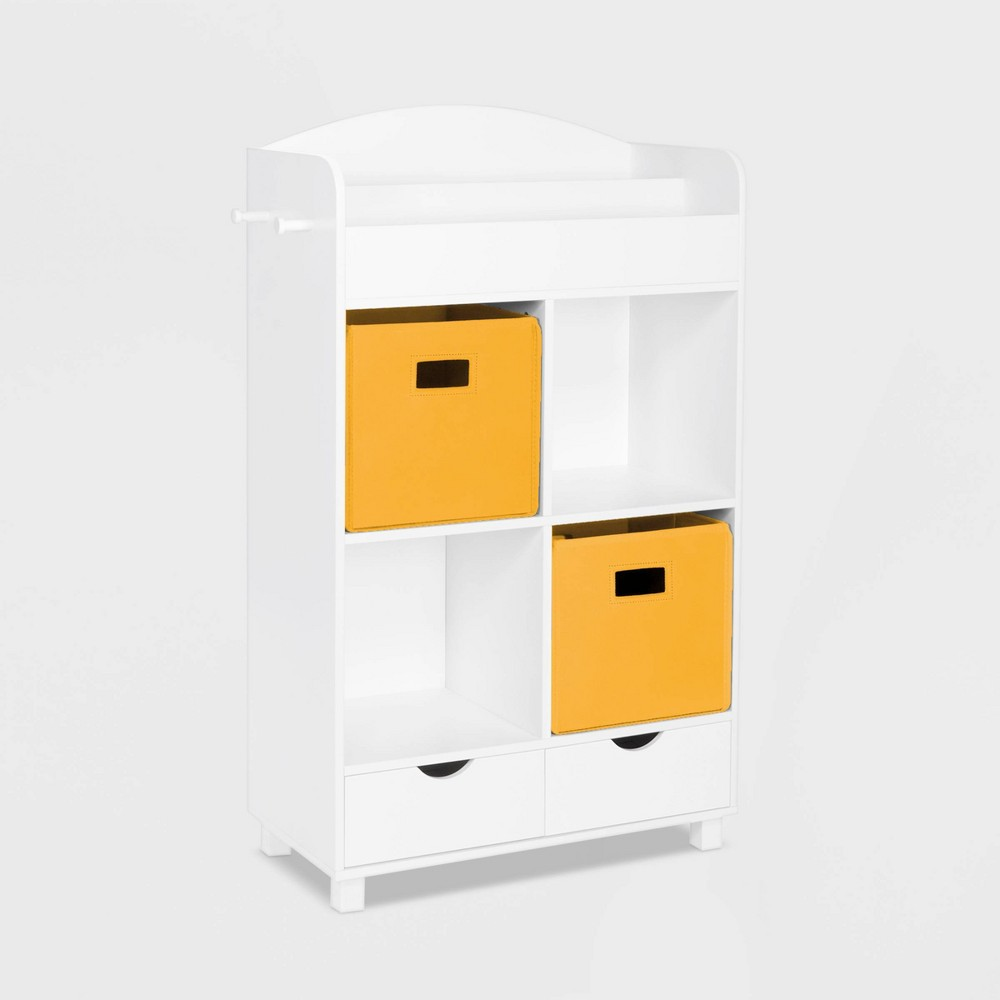 Image of 2pc Bin Book Nook Kids Cubby Storage Cabinet with Book Rack Yellow - RiverRidge