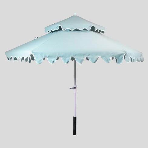 9 Tiered Scalloped Canopy Patio Umbrella Aqua White Pole