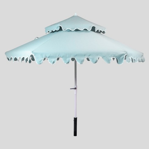 9' Tiered Scalloped Canopy Patio Umbrella Aqua - White Pole - Opalhouse™