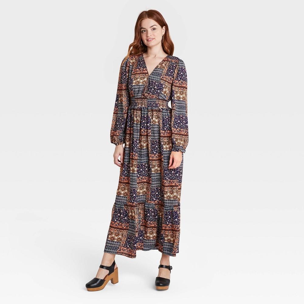 70s Dresses – Disco Dress, Hippie Dress, Wrap Dress Womens Floral Print Bishop Long Sleeve Dress - Knox Rose Navy XXL Blue $34.99 AT vintagedancer.com