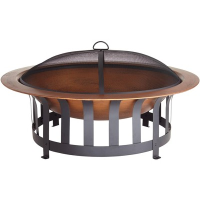 "John Timberland Copper and Black Outdoor Fire Pit Round 40"" Steel Wood Burning with Spark Screen and Fire Poker for Backyard Patio Camping"