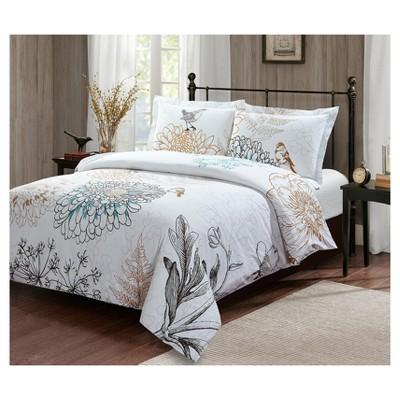 Floral Birdie Duvet Cover Set (King)3pc - Style Quarters®