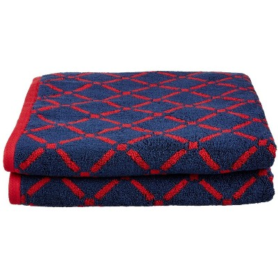 "Plush and Absorbent Cotton Oversized 2-Piece Geometric Diamond 30"" x 52"" Bath Towel Set - Blue Nile Mills"
